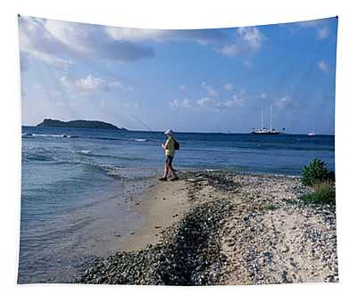 Tourist Fishing On The Beach, Sandy Tapestry