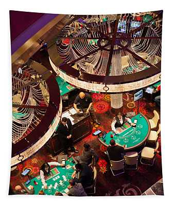 Tourists At Blackjack Tables In Casino Tapestry