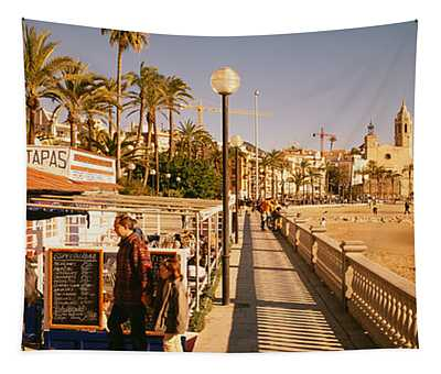 Tourists In A Cafe, Tapas Cafe, Sitges Tapestry