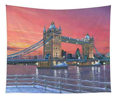 Tower Bridge After The Snow Tapestry