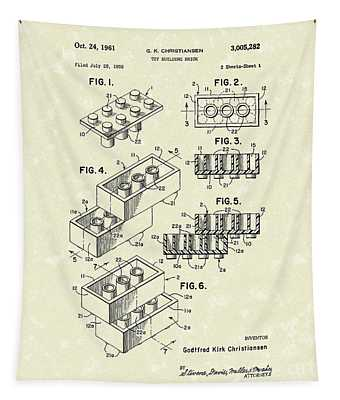 Toy Building Brick 1961 Patent Art Tapestry
