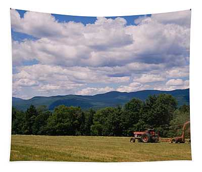 Tractor On A Field, Waterbury, Vermont Tapestry