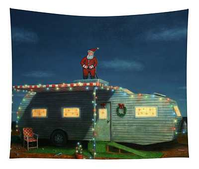 Tapestry featuring the painting Trailer House Christmas by James W Johnson