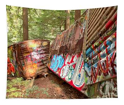 Train Box Cars In The Woods Tapestry