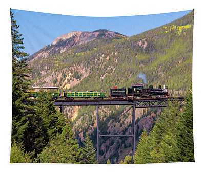 Train Over The Trestle Tapestry