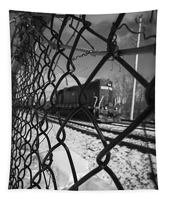 Train Through The Chain Link Fence Tapestry