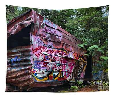 Train Wreck Bursting Out Of The Forest Tapestry