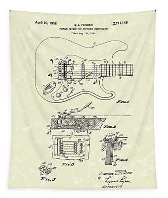 Tremolo Device 1956 Patent Art Tapestry