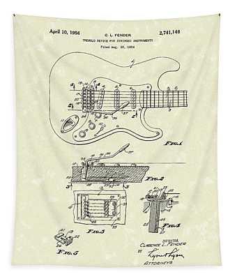 Tremolo Device 1956 Patent Art Tapestry