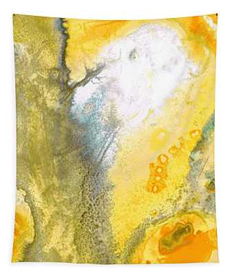 Triumph - Yellow Abstract Art By Sharon Cummings Tapestry