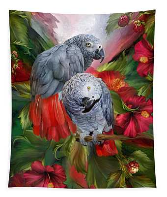Tropic Spirits - African Greys Tapestry