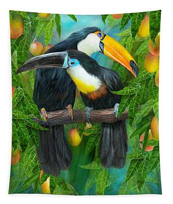 Tapestry featuring the mixed media Tropic Spirits - Toucans by Carol Cavalaris