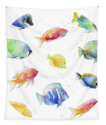 Tropical Fish Round Tapestry