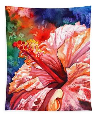 Tropical Pink Hibiscus Tapestry