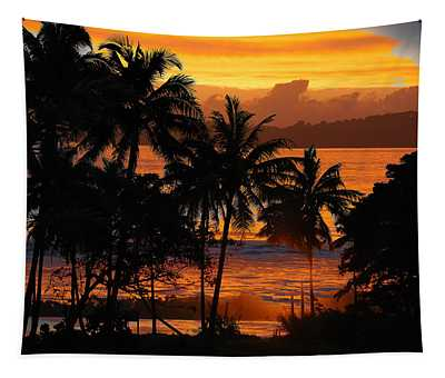 Tropical Sunset In Blues Tapestry