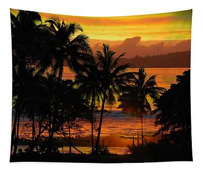 Tropical Sunset In Greens Tapestry