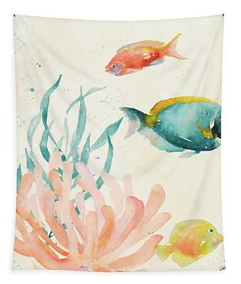 Tropical Teal Coral Medley II Tapestry
