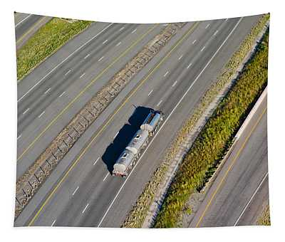 Truck Moving On A Highway, Interstate Tapestry