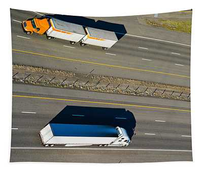 Trucks Moving On A Highway, Interstate Tapestry