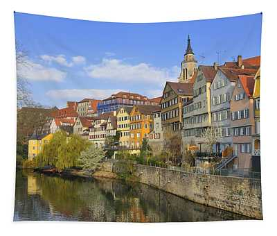 Tuebingen Neckarfront With Beautiful Old Houses Tapestry