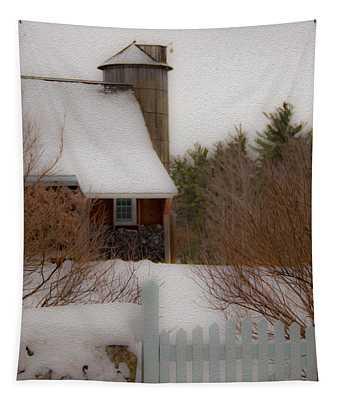 Tuftonboro Farm In Snow Tapestry