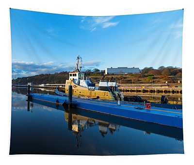 Tugboat Moored At The River Suir Tapestry