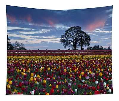 Tulip Field's Last Colors Tapestry