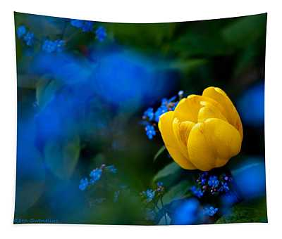 Tulip Surronded Of Forget-me-not Tapestry
