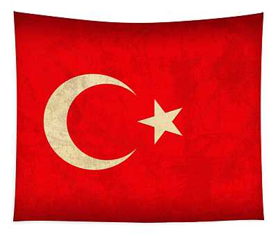 Turkey Flag Vintage Distressed Finish Tapestry