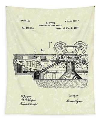 Turn Table 1887 Patent Art Tapestry by Prior Art Design