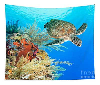 Turtle And Coral Tapestry