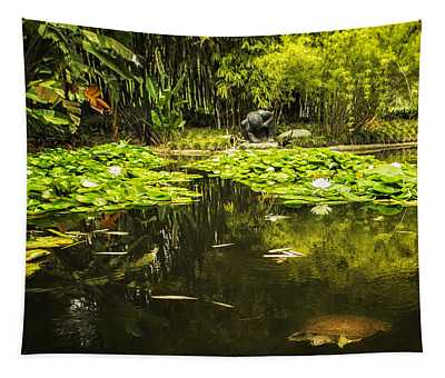 Turtle In A Lily Pond Tapestry
