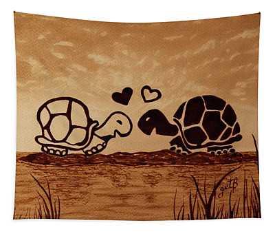 Turtles Love Coffee Painting Tapestry