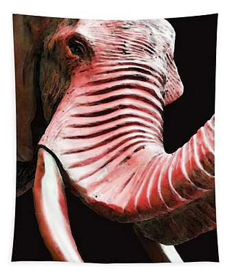 Tusk 4 - Red Elephant Art Tapestry