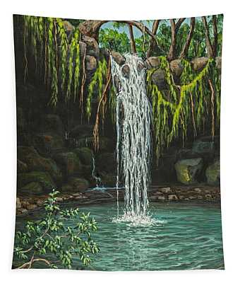 Tapestry featuring the painting Twin Falls by Darice Machel McGuire