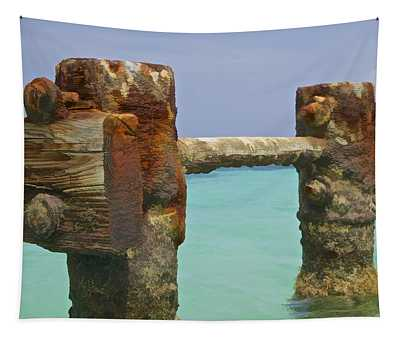 Twin Rusted Dock Piers Of The Caribbean Tapestry