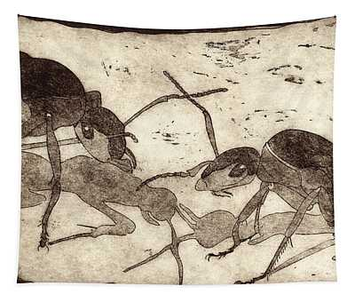 Two Ants In Communication - Etching Tapestry