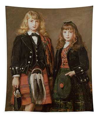 Two Bairns Oil On Canvas Tapestry