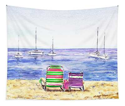 Two Chairs On The Beach Tapestry