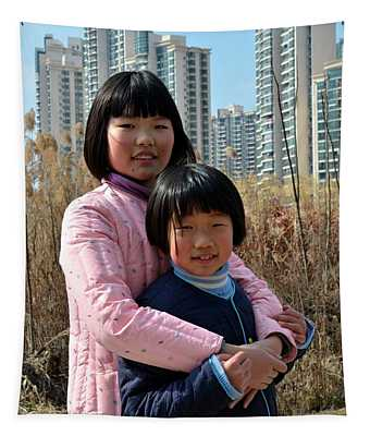 Two Chinese Teen Sisters Hug  And Embrace Shanghai China Tapestry