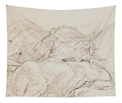 Two Dead Stags Tapestry