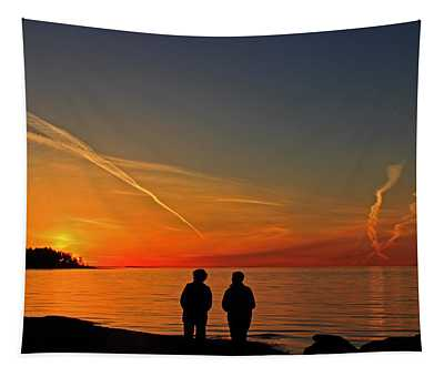 Two Friends Enjoying A Sunset Tapestry