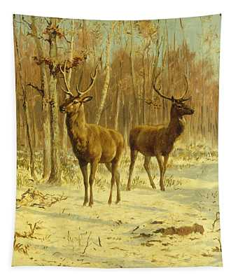Two Stags In A Clearing In Winter Tapestry