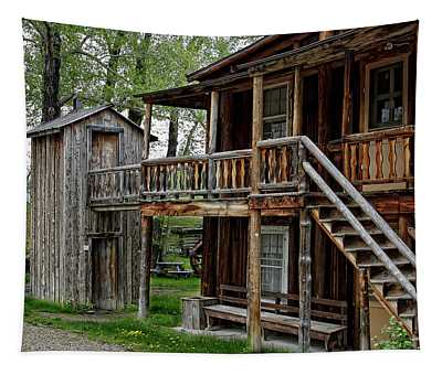 Two Story Outhouse - Nevada City Montana Tapestry