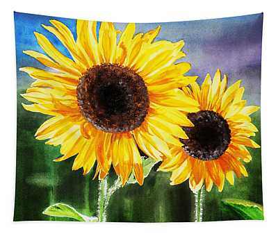 Two Suns Sunflowers Tapestry