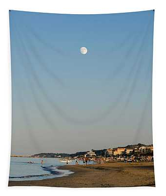 Sunset On The Beach - Under A Glass Moon Tapestry