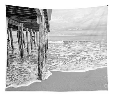 Under The Boardwalk Black And White Tapestry