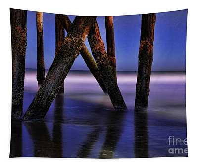 Under The Pier At Night Tapestry