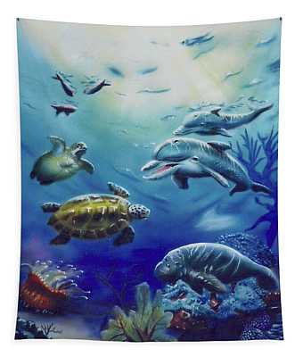Under Water Antics Tapestry