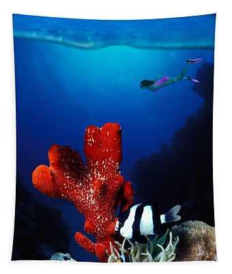 Underwater View Of Sea Anemone Tapestry